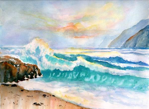 Painting - California Seascape At Sunset by Carlin Blahnik CarlinArtWatercolor