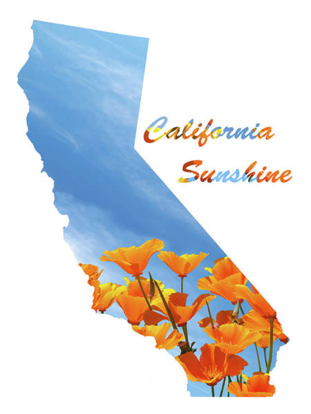 Photograph - California Sunshine State Map by Gill Billington