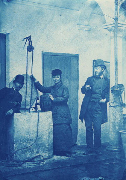 Painting - Calla Curman And Two Unidentified Men At A Well  Probably In Andalusia, Cyanotype  by Celestial Images