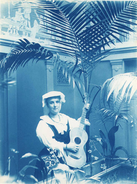 Painting - Calla Curman With Guitar  Stockholm  Sweden, Cyanotype by Celestial Images