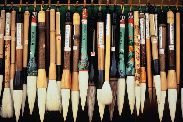 Calligraphy Photograph - Calligraphy Brushes, Close-up, Seoul by John Elk Iii