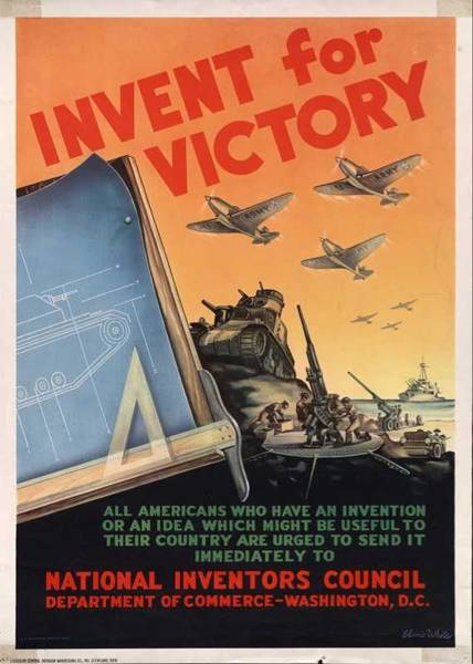 Wall Art - Painting - Calling All Inventors. A Wwii Propaganda Poster. by Celestial Images