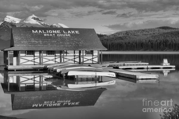 Photograph - Calm Summer Afternoon At Maligne Lake Black And White by Adam Jewell