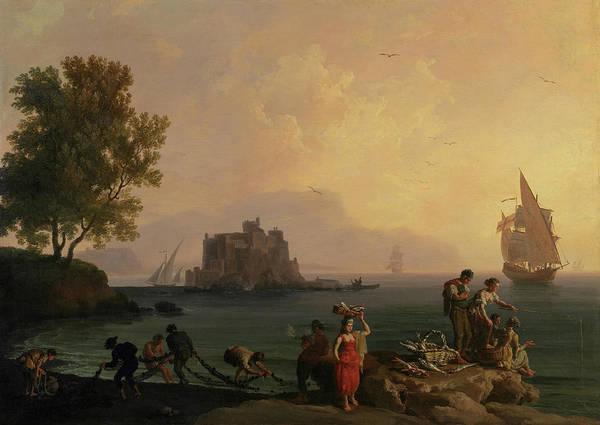 Wall Art - Painting - Calme, Soleil Couchant by Claude-Joseph Vernet