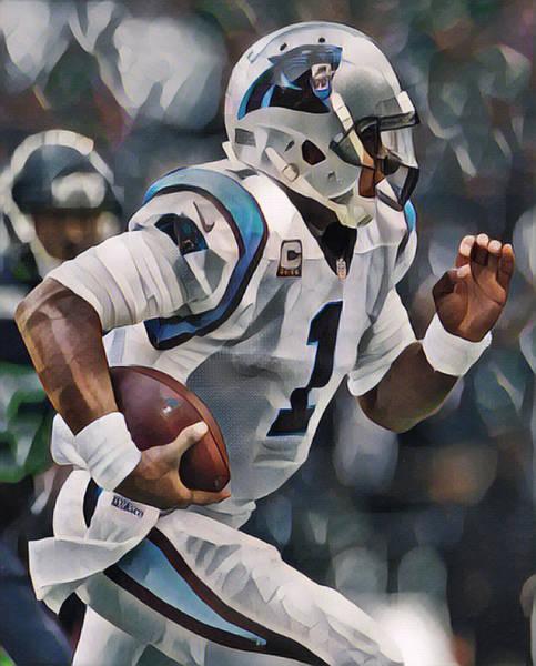 Wall Art - Mixed Media - Cam Newton Carolina Panthers Abstract Art 1 by Joe Hamilton