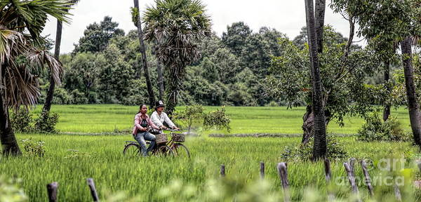 Wall Art - Photograph - Cambodian Couple Motorcycle Fields Of Cambodia  by Chuck Kuhn