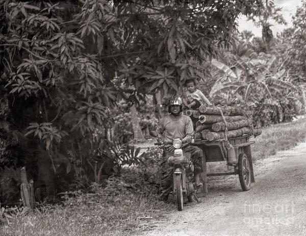 Wall Art - Photograph - Cambodian Man And Child Load Trans Wood Sepi  by Chuck Kuhn
