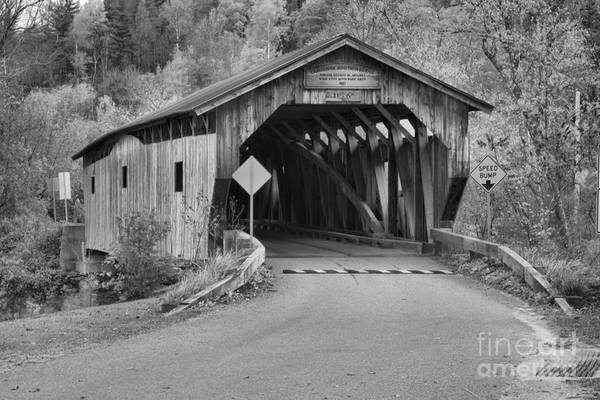 Photograph - Cambridge Junction Covered Bridge Fall Landscape Black And White by Adam Jewell