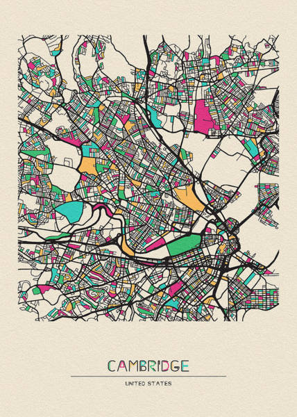 Wall Art - Drawing - Cambridge, Massachusetts City Map by Inspirowl Design