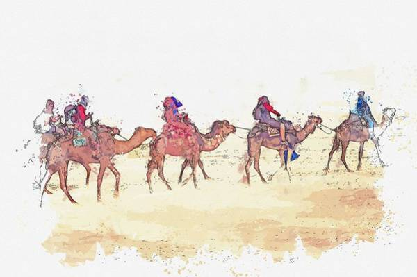 Wall Art - Painting - Camel Caravan In Sahara Desert Tours Morocco, Marrakech, Morocco -  Watercolor By Ahmet Asar by Celestial Images