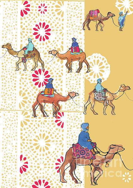 Nomad Mixed Media - Camel Train by Anna Platts
