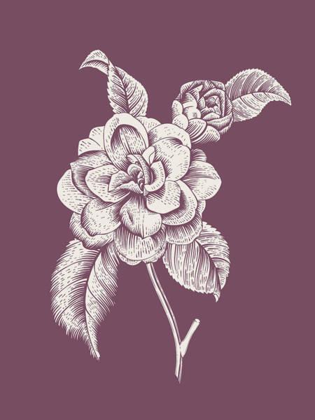 Bouquet Mixed Media - Camelia Purple Flower by Naxart Studio