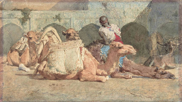 Wall Art - Painting - Camels Reposing, Tangiers - Digital Remastered Edition by Mariano Fortuny