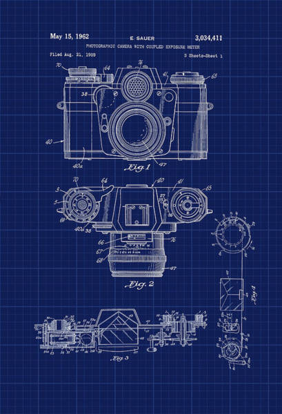 Photograph - Camera And Meter Patent Cad Drawing by Carlos Diaz