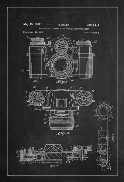 Digital Art - Camera And Meter Patent Drawing - Charcoal by Carlos Diaz