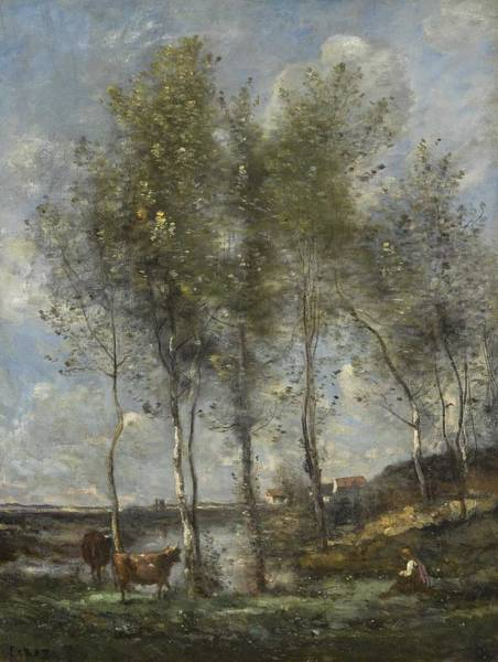 Wall Art - Painting - Camille Corot - The Birches Of Marais De Boves by Celestial Images