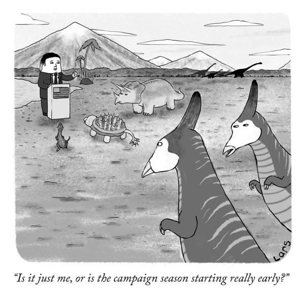 Dinosaurs Drawing - Campaign Season by Lars Kenseth