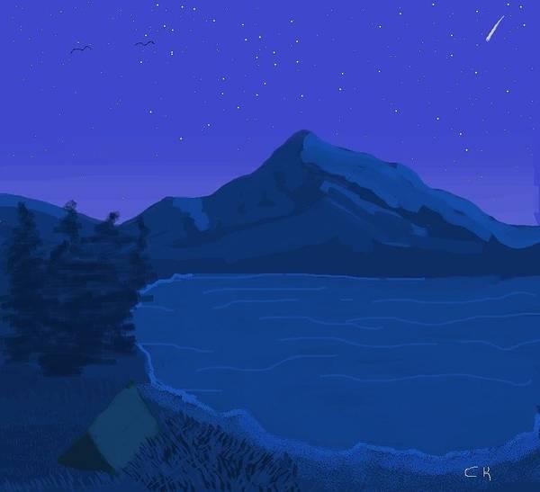 Digital Art - Camping By A Midnight Lake by Chance Kafka