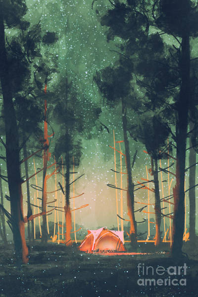 Wall Art - Digital Art - Camping In Forest At Night With Stars by Tithi Luadthong
