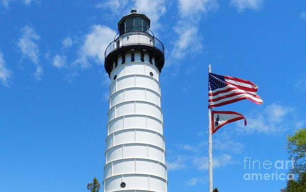 Wall Art - Photograph - Cana Island Lighthouse And Flags by Snapshot Studio