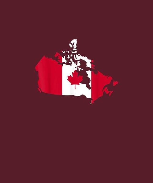 Wall Art - Digital Art - Canada Map Flag T-shirt by Unique Tees