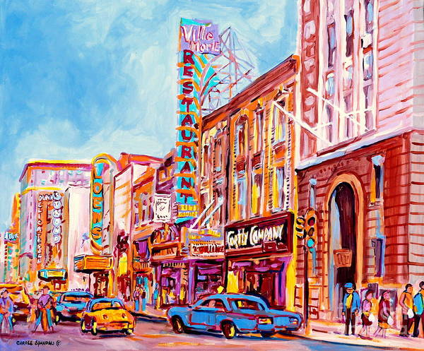 Painting - Canadian Art Montreal Scenes Downtown St Catherine Vintage Stores And Restaurants C Spandau Artist by Carole Spandau