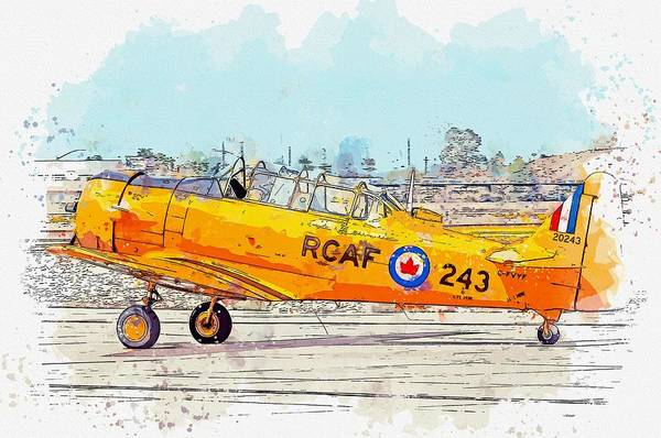 Painting - Canadian Harvard Taxiing Watercolor By Ahmet Asar by Ahmet Asar