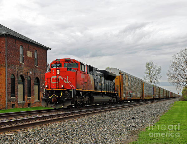 Wall Art - Photograph - Canadian National Freight Train, Mccordsville, Indiana by Steve Gass