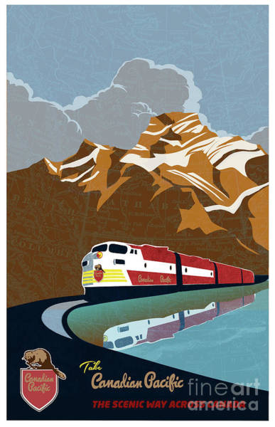 Painting - Canadian Pacific Rail Vintage Travel Poster by Sassan Filsoof