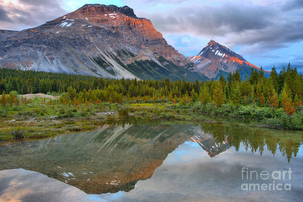 Wall Art - Photograph - Canadian Rockies Twin Sunset Peaks by Adam Jewell