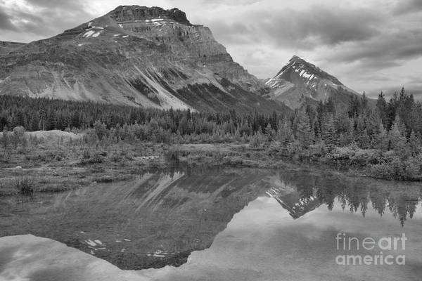 Wall Art - Photograph - Canadian Rockies Twin Sunset Peaks Black And White by Adam Jewell