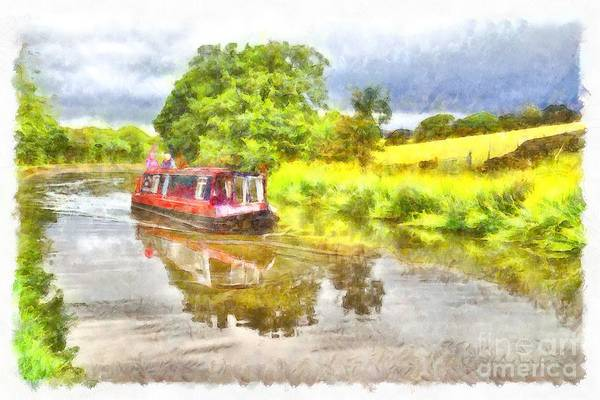 Digital Art - Canal Boat On The Leeds To Liverpool Canal by Martyn Arnold
