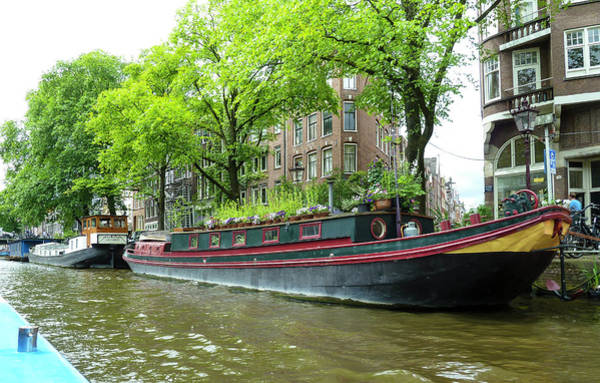 Canal Boats In Amsterdam - 2 Art Print