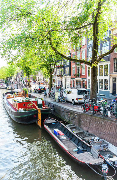 Canal Boats In Amsterdam Art Print