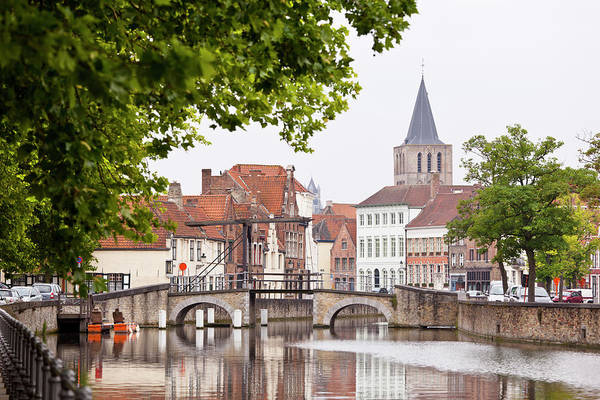 Belgium Photograph - Canal Bridge At Potterierei In Bruges by Michaelutech