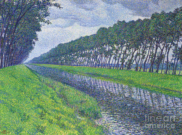 Wall Art - Painting - Canal In Flanders, Le Canal En Flandre Par Temps Triste, 1894 by Theo van Rysselberghe