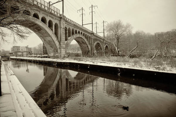 Photograph - Canal Scene In Winter - Manayunk In Sepia by Bill Cannon
