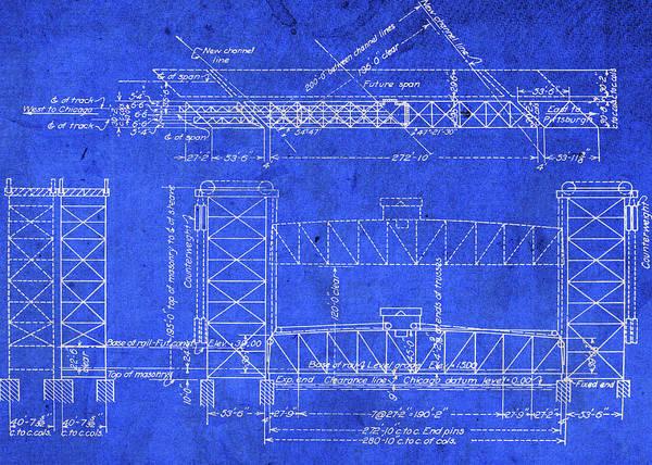 Bridge Mixed Media - Canal Street Railroad Bridge Pennsylvania Vintage Blueprints by Design Turnpike