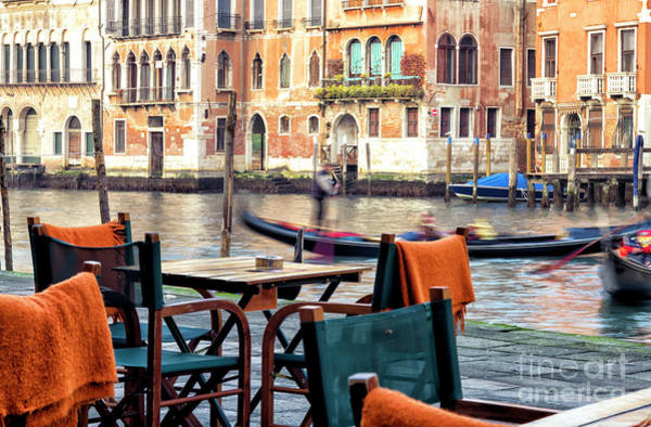 Photograph - Canal View From The Table In Venice by John Rizzuto