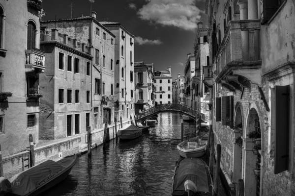 Photograph - Canals Of Venice 002 Bw by Lance Vaughn