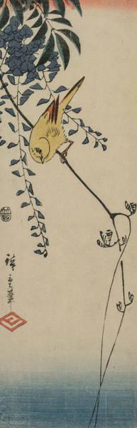 Wall Art - Relief - Canary And Wisteria by Utagawa Hiroshige