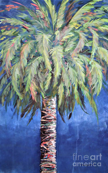 Painting - Canary Island Palm- Warm Blue I by Kristen Abrahamson