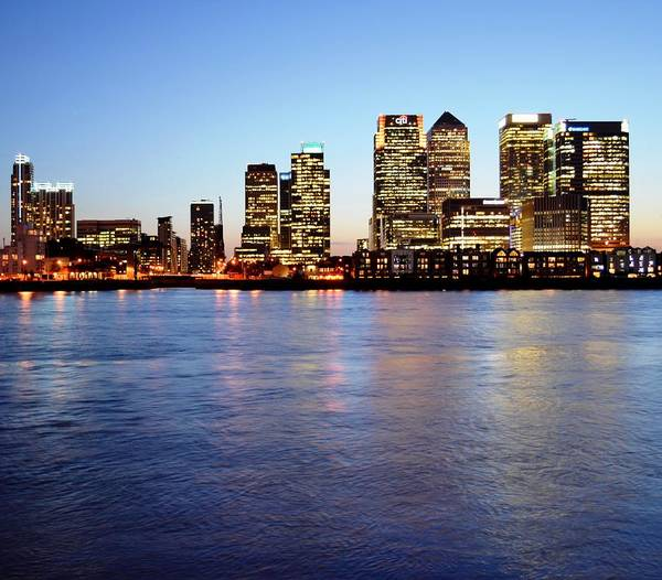 Canary Wharf Photograph - Canary Wharf Buildings By River by Pallab Seth