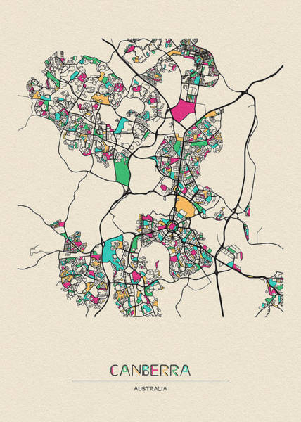 Wall Art - Drawing - Canberra, Australia City Map by Inspirowl Design