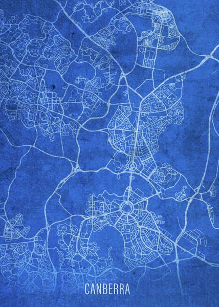 Wall Art - Mixed Media - Canberra Australia City Street Map Blueprints by Design Turnpike