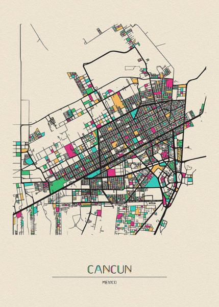Wall Art - Drawing - Cancun, Australia City Map by Inspirowl Design