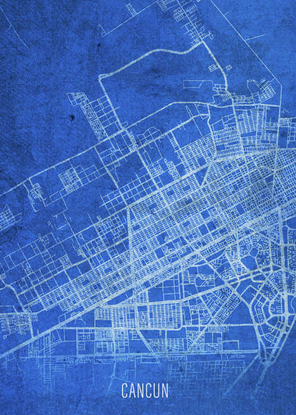 Wall Art - Mixed Media - Cancun Mexico City Street Map Blueprints by Design Turnpike