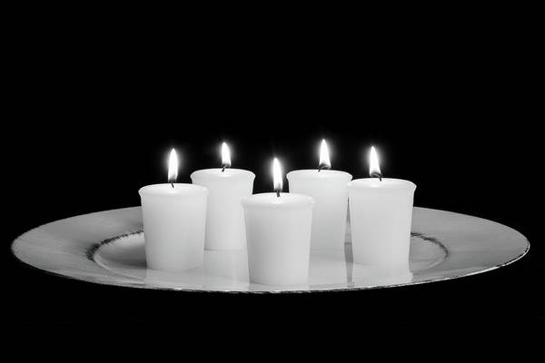 Photograph - Candles On Plate-bw by Jennifer Wick