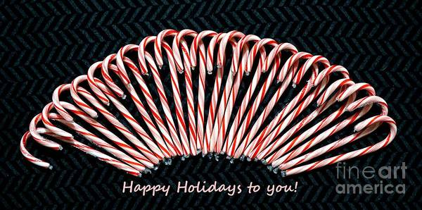 Photograph - Candy Cane Happy Holidays To You by Christopher Shellhammer