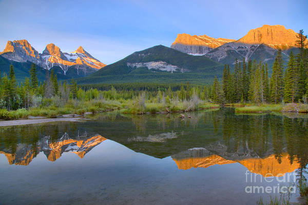 Photograph - Canmore Alberta Glowing Mountain Peaks by Adam Jewell